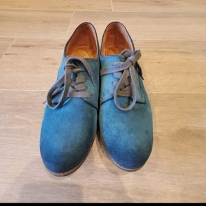 Naya Tiber Teal Suede Oxford Flats Size 9.5